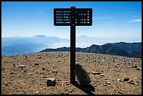 Sign on top of Mount Baldy. San Gabriel Mountains National Monument, California, USA ( )