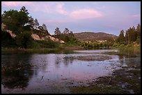Jackson Lake at sunset. San Gabriel Mountains National Monument, California, USA ( )
