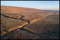Aerial view of Wallace Creek bend caused by and San Andreas Fault. Carrizo Plain National Monument, California, USA ( )