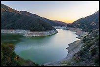 San Gabriel Canyon with Moris Reservoir at sunset. San Gabriel Mountains National Monument, California, USA ( )