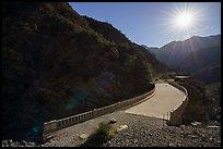 Bridge to Nowhere and sun. San Gabriel Mountains National Monument, California, USA ( )