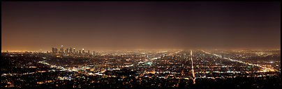 Street grid and city at night. Los Angeles, California, USA (Panoramic color)