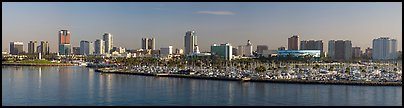 Skyline with harbor. Long Beach, Los Angeles, California, USA (Panoramic color)
