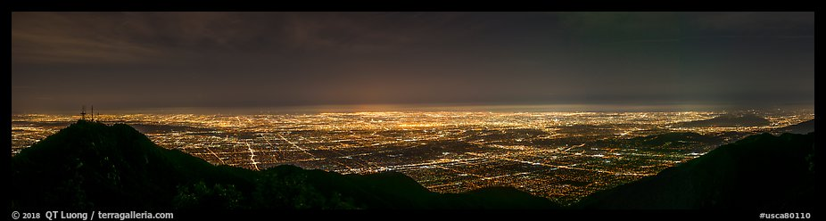 Los Angeles Basin from Mount Wilson at night. Los Angeles, California, USA (color)