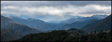 Rolling peaks under storm sky. San Gabriel Mountains National Monument, California, USA (Panoramic color)