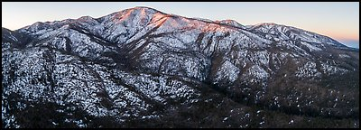 Aerial view of Grinnell Mountain, winter sunrise. Sand to Snow National Monument, California, USA (Panoramic )