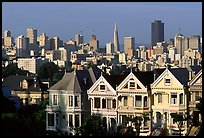 Victorians at Alamo Square and skyline, afternoon. San Francisco, California, USA ( color)