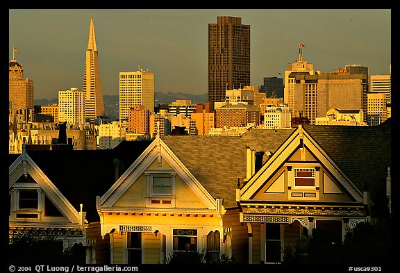 Victorians at Alamo Square and skyline, late afternoon. San Francisco, California, USA