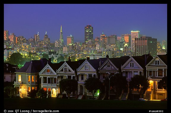 Victorians at Alamo Square and skyline, night. San Francisco, California, USA