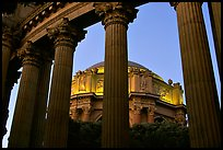 Rotunda seen through peristyle,  the Palace of Fine arts, dusk. San Francisco, California, USA ( color)