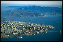 Aerial view of Downtown, the Golden Gate Bridge, and the Marin Headlands. San Francisco, California, USA (color)