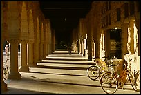 Hallway and bicycles. Stanford University, California, USA (color)
