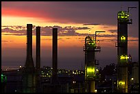 Chimneys of ConocoPhillips Oil Refinery, Rodeo. San Pablo Bay, California, USA ( color)
