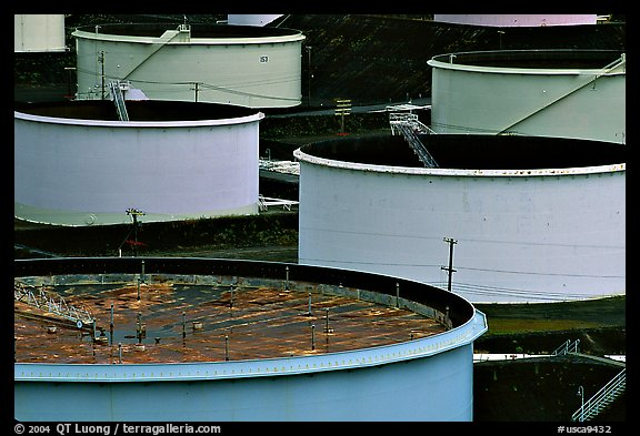 Oil tanks,  ConocoPhillips refinery, Rodeo. San Pablo Bay, California, USA