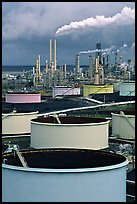 Storage citerns and piples, ConocoPhillips  Refinery,  Rodeo. San Pablo Bay, California, USA ( color)