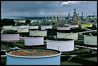 Storage citerns and piples, Oil Refinery, Rodeo. San Pablo Bay, California, USA ( color)