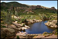 Bear Gulch Dam and reservoir. Pinnacles National Park, California, USA. (color)