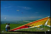 Hand-glider,  Mission Peak Regional Park. California, USA (color)
