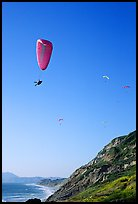 Paragliding above a sea cliff, the Dumps, Pacifica. San Mateo County, California, USA