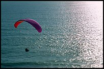 Paraglider above the ocean, the Dumps, Pacifica. San Mateo County, California, USA (color)