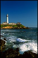 Surf and Pigeon Point Lighthouse, afternoon. San Mateo County, California, USA