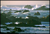 Surf and rocks, Ocean drive, Carmel. Pacific Grove, California, USA (color)