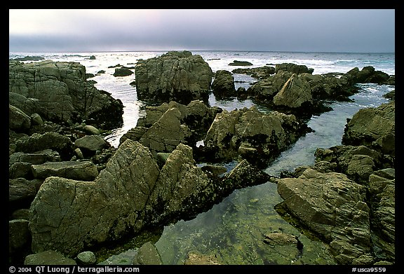 Pool, rocks, foggy sunset, seventeen-mile drive. Pebble Beach, California, USA (color)