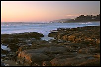 Rock ledges at  sunset,  Carmel River State Beach. Carmel-by-the-Sea, California, USA