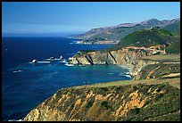 Distant view of Bixby Creek Bridge and coast. Big Sur, California, USA