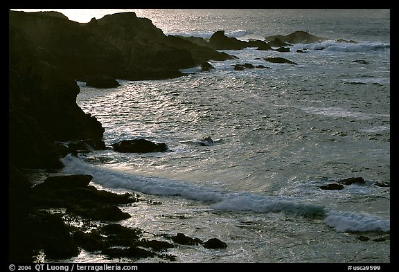 Rocks and surf, Garapata State Park, afternoon. Big Sur, California, USA