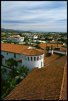 Rooftop of the courthouse with red tiles. Santa Barbara, California, USA