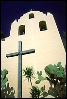 Cross and bell tower, Mission Santa Inez. Solvang, California, USA ( color)