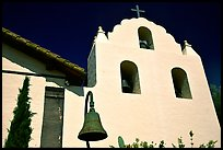 Cross and bell tower, Mission Santa Inez. Solvang, California, USA