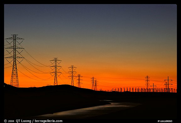 Power lines at sunset, Central Valley. California, USA