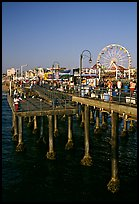 Pier and Ferris Wheel, late afternoon. Santa Monica, Los Angeles, California, USA