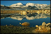 Tufas and Sierra, winter sunrise. Mono Lake, California, USA (color)