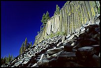 Columnar basalt, afternoon,  Devils Postpile National Monument. California, USA (color)