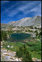 Fishing in small mountain lake, Inyo National Forest. California, USA ( color)