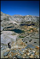 Chain of lakes seen from Bishop Pass, Inyo National Forest. California, USA ( color)