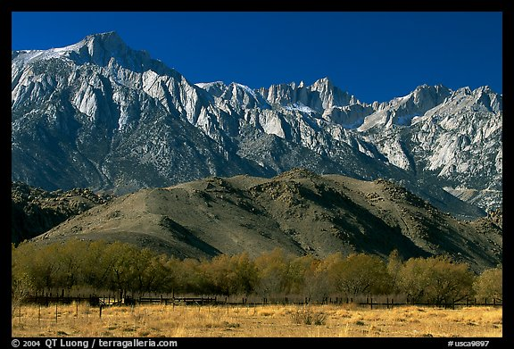 Mt Whitney, Sierra Nevada mountains, and foothills. California, USA (color)