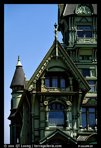 Detail of Victorian architecture of Carson Mansion, Eureka. California, USA