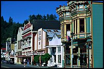 Row of Victorian Houses, Ferndale. California, USA (color)