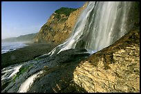 Alamere Falls flowing onto the beach. Point Reyes National Seashore, California, USA