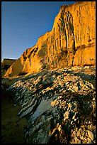 Rocks and Cliff, Sculptured Beach, sunset. Point Reyes National Seashore, California, USA