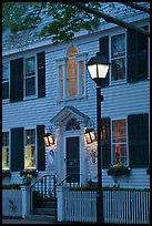 Facade and street light and dusk, Essex. Connecticut, USA (color)