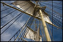Sails and masts of Charles W Morgan whaleship. Mystic, Connecticut, USA (color)