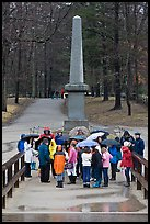 School children visiting North bridge, Minute Man National Historical Park. Massachussets, USA (color)