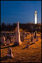 Cemetery and Pilgrim Monument by night, Provincetown. Cape Cod, Massachussets, USA