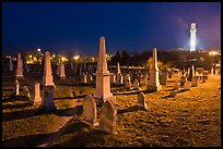Cemetery and Pilgrim Monument at night, Provincetown. Cape Cod, Massachussets, USA