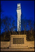 Pilgrim Monument by night, Provincetown. Cape Cod, Massachussets, USA (color)